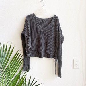 v neck gray knit crop sweater side tie S